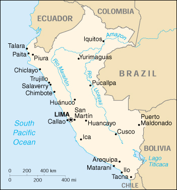 Peru Map CIA World Factbook